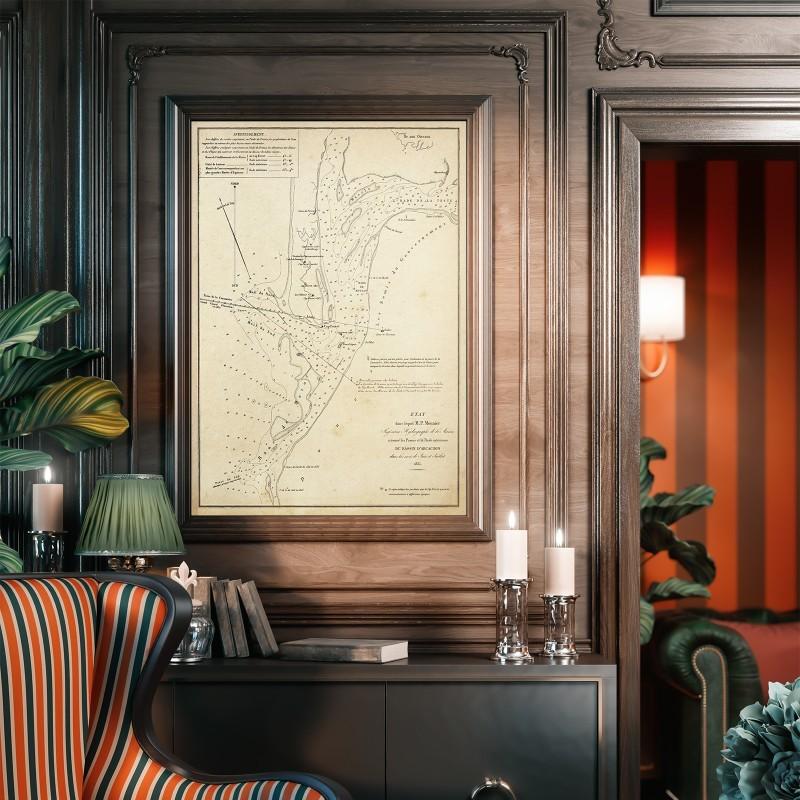carte-vintage-passes-bassin-d-arcachon-1835-1